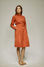 pleated shirtdress red